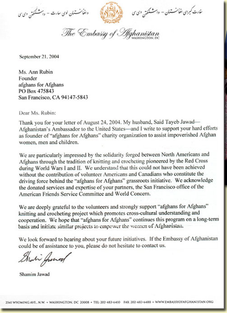 Letter from the Afghan Embassy